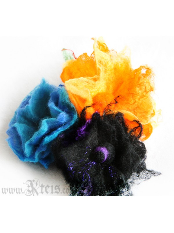 Small black fluffy floral pin -  felt flower brooch