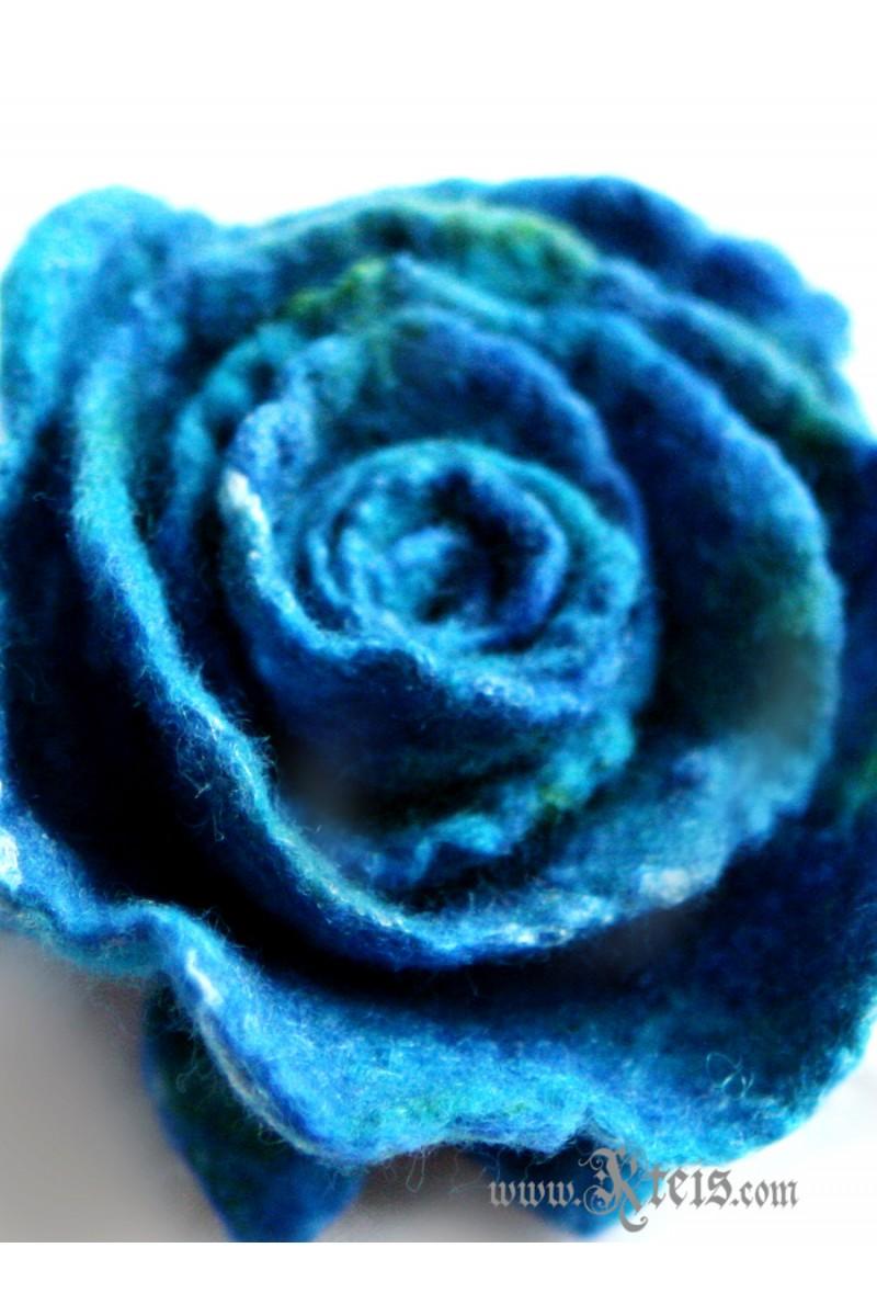 Teal Blue Rose Flower Corsage Felt Flower Brooch