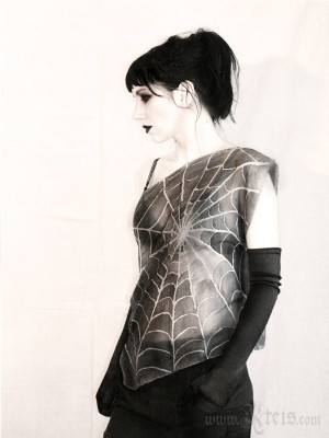Spider Web Top in Silver Gray