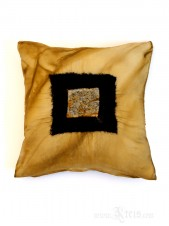 Abstract Square Minimalist Gold Silk Throw Pillow