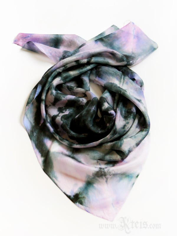 Black Lace Pink Silk Scarf