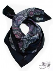 Distressed lace silk scarf