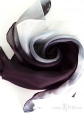 Ombre Silk Scarf in Black and White