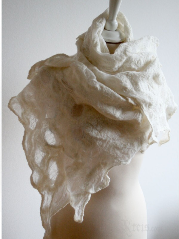 White Sea Foam Nuno Felt Scarf