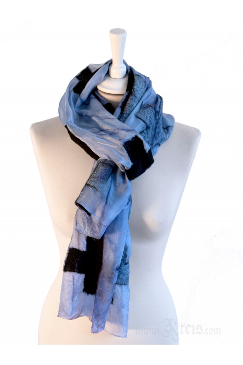 Nuno Felt Silk Scarf with Black Wool Crosses