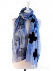 Metallic Nuno Felt Silk Scarf with Black Wool Crosses