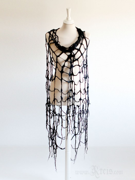 Large black felt spider web scarf wrap - gothic clothing