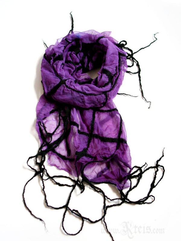 Silk and wool spider web scarf- nuno-felt