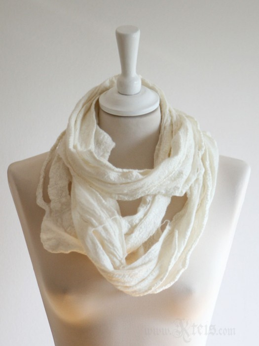 Natural White Merino Wool Infinity Scarf