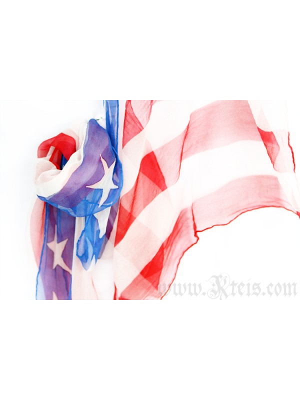 USA Flag Scarf - Chiffon Silk Shawl