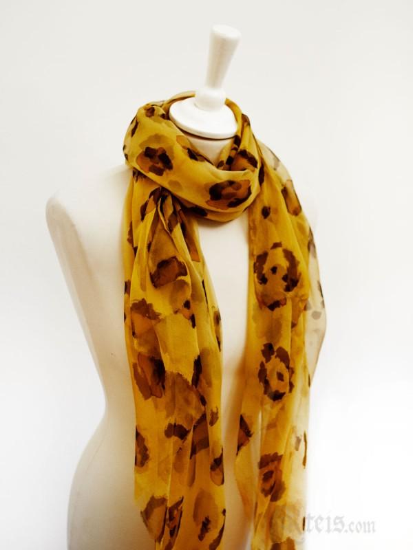 Leopard Print Chiffon Silk Scarf Wrap