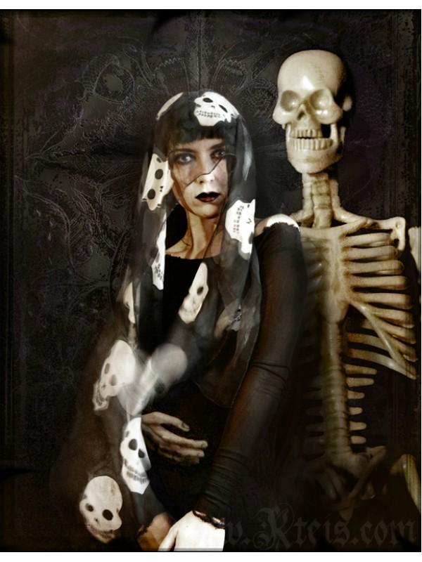 Chiffon Skull Scarf - Shawl