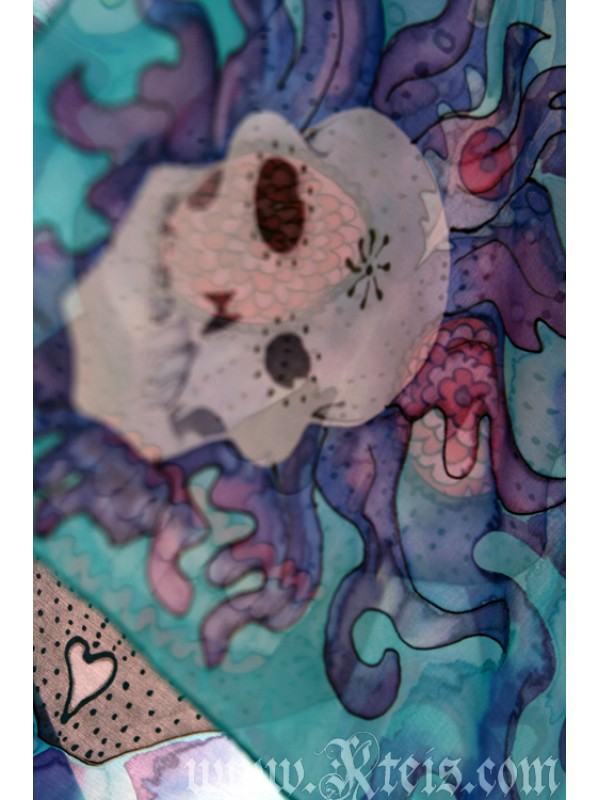Sugar Skull Scarf - Water Element