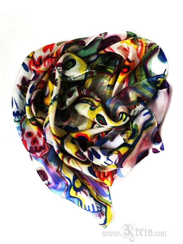 Pastel Skull Silk Shawl