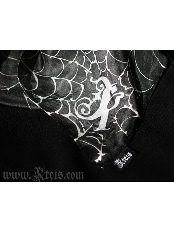 Black Silk Scarf with Cobwebs
