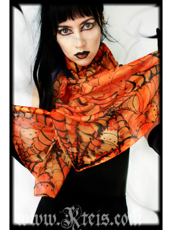 Horror Punk Spider Web Silk Shawl