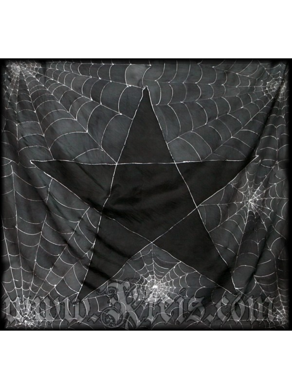 Black Silk Tunic Dress with Silver Pentagram