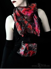 Dark Fashion Shawl with Spider Webs