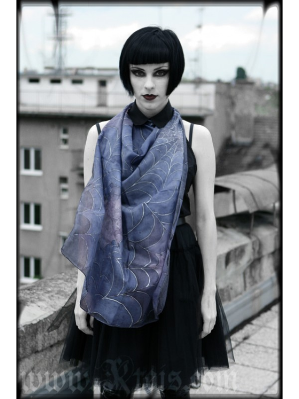 Luxurious Purple Scarf with Silver Cobwebs