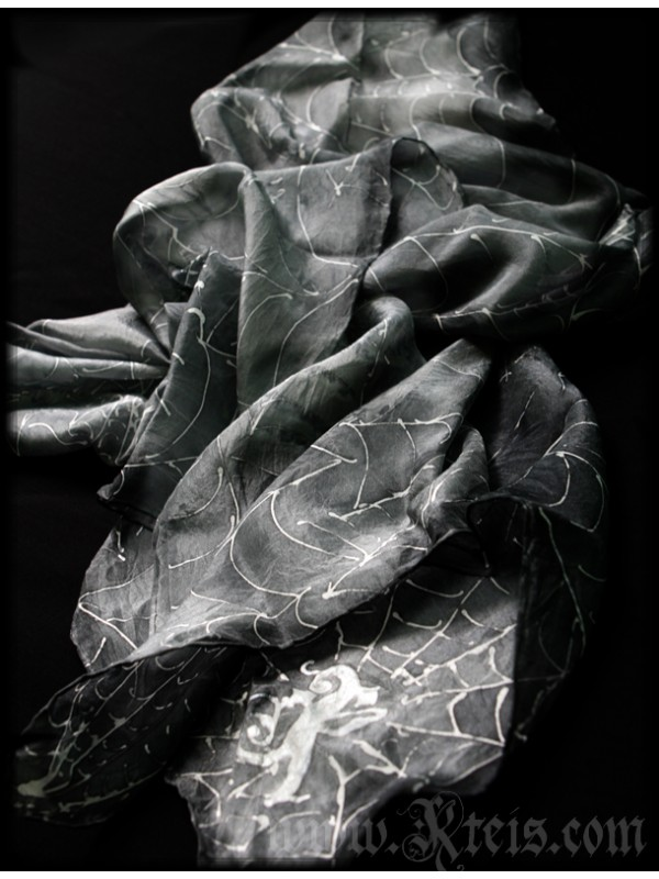 Grey Silk TIe with Spider Webs
