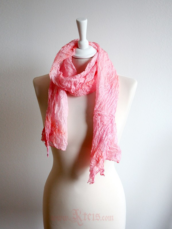 Pastel silk scarf shawl in salmon rose pink