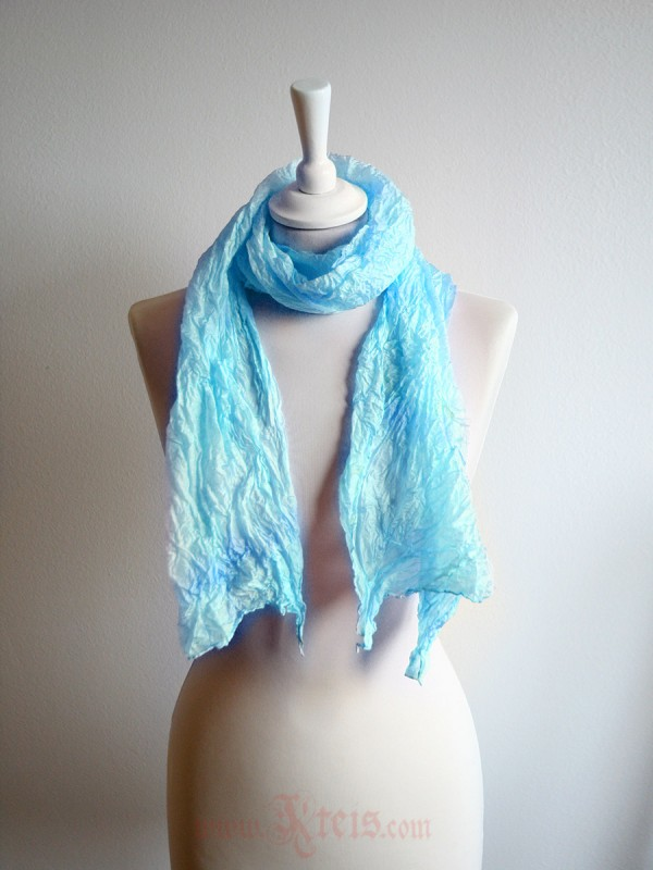 Pastel silk scarf shawl in teal blue
