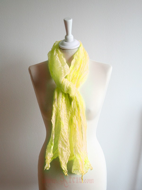 Pastel silk scarf shawl in yellow