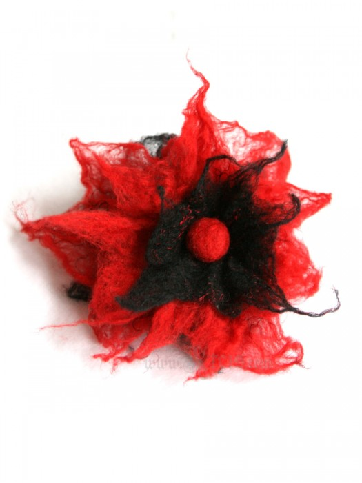 Red poppy wool flower brooch -  felt flower brooch