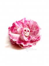 Pink skull flower brooch - felt flower brooch