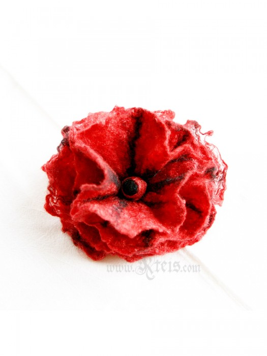 Red black floral brooch -  felt flower brooch