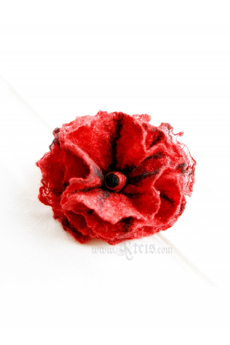 Red Black Floral Brooch Felt Flower Brooch