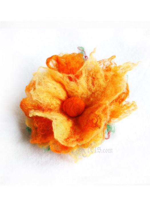 Yellow spring floral brooch -  felt flower brooch
