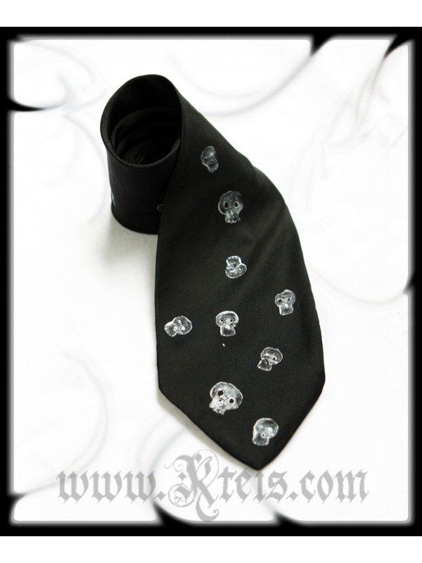 Silk Tie with Silver Skulls