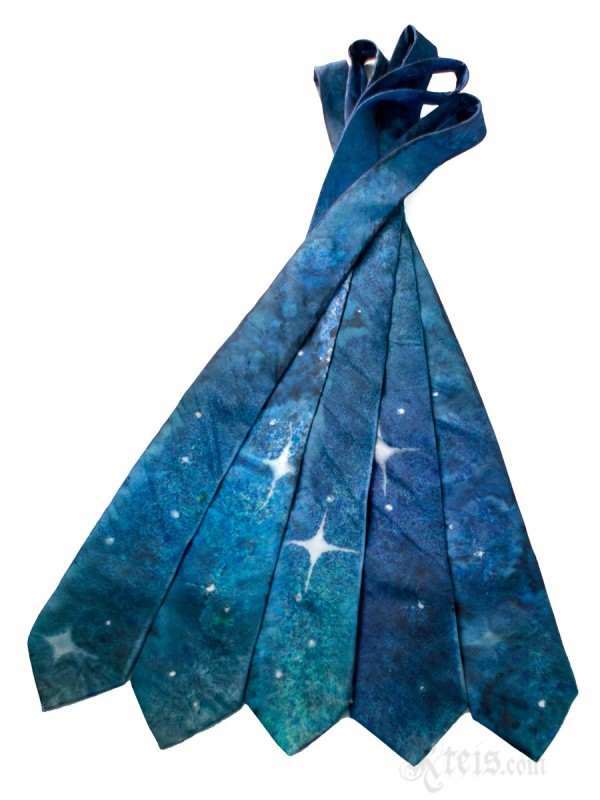 Galaxy Silk Tie with Stars and Deep Space