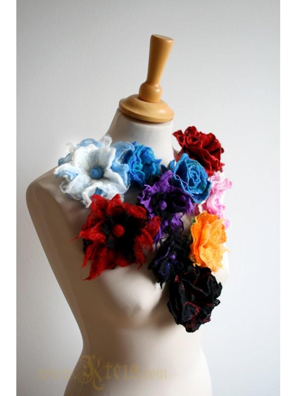 Teal blue rose flower corsage -  felt flower brooch