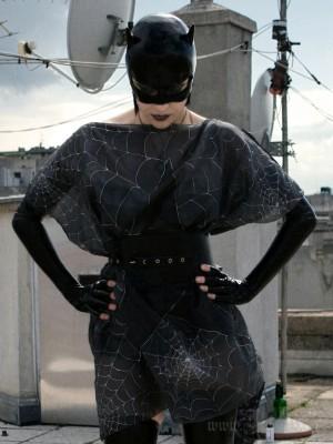 Black Silk Tunic Dress with Silver Pentagram