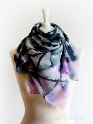 Black Lace Pink Silk Scarf