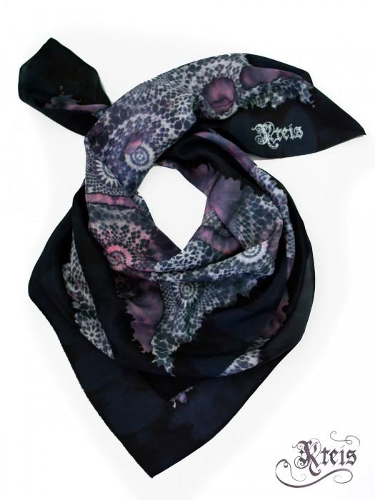 Distressed lace silk scarf