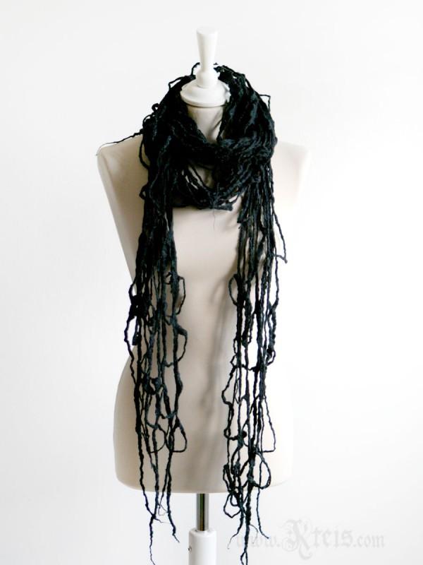 Large black felt spider web scarf wrap - gothic clothing
