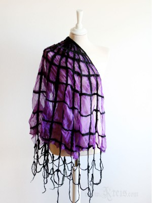 Silk and wool spider web scarf- nuno-felt