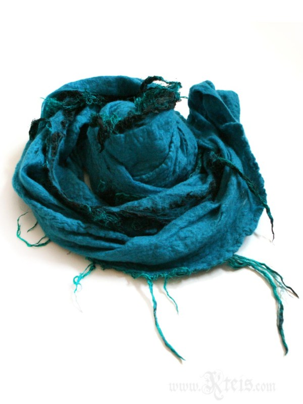 Turquoise Merino Wool Infinity Scarf with Silk Fringes