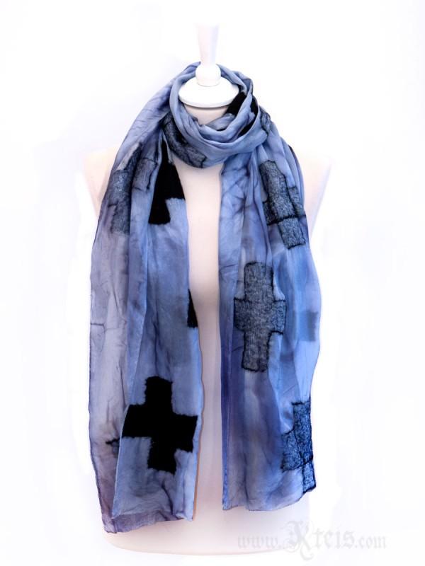 Metallic Nuno Felt Silk Scarf with Black Wool Crosses