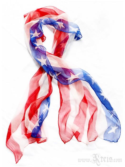 USA Flag Scarf - Chiffon Silk Shawl