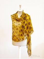 Leopard pattern chiffon silk scarf