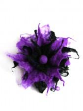 Purple goth flower brooch -  felt flower