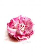 Pink skull flower brooch - felt flower brooch