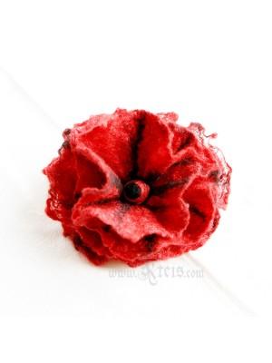 Red black floral brooch -  felt flower brooch
